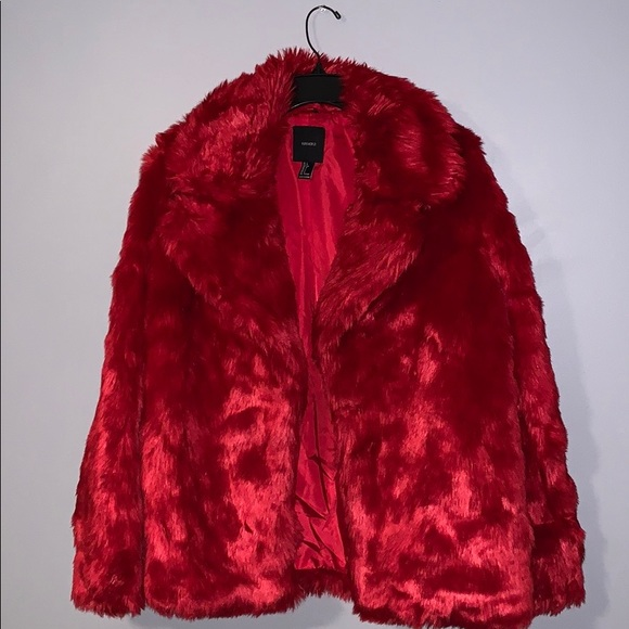 Forever 21 Jackets & Blazers - Red Faux Fur Coat